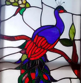 vitral de pavo real
